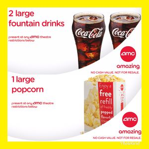 2 AMC Free Large Drink & 1 Large Popcorn. Exp June 2020 for Sale in Costa Mesa, CA