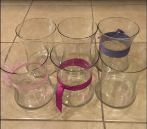 Lot of 6 glass flower vases for Sale in Fort Lauderdale, FL