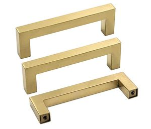 40 Pack - Square Brushed Brass Cabinet Handles and Knobs Bathroom Pulls Gold Drawer Pulls Kitchen Hardware (12x12mm)-128mm CC for Sale in Fort Washington, MD