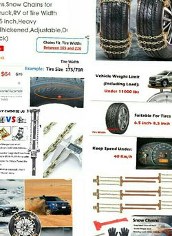 Tire Chains, Snow Chains for suvs, Cars, Sedan, Family Automobiles,Trucks with Update Adjustable Lock for Ice, Snow,Mud,Sand,Applicable Tire Width 215 for Sale in Inman,  SC