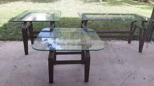 Set up 3 living room metal frame and glass for Sale in San Antonio, TX