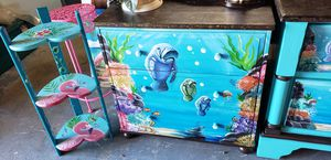 3 drawer dresser nightstand entrance table artist hand painted manatees Florida for Sale in NEW PRT RCHY, FL