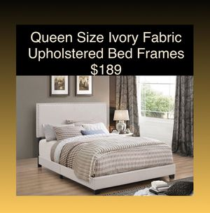 Queen Size Ivory Upholstered Bed Frames (New) Same Day Delivery Available for Sale in Atlanta, GA