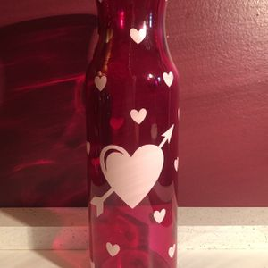 Pink Glass Flower Vase With Pink Heart Design for Sale in Lancaster, PA
