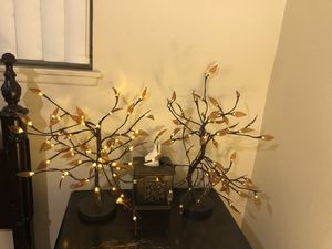 2 Home Decorative LED Tree Light. Smart Table Lamp Accent Night Light. Copper Wire String. Warm Brown. Flexible Branch for Sale in Riverside, CA