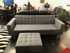 Gray Sofa Bed with Ottoman for Sale in Atlanta, GA