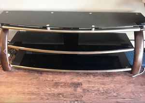 Grey metal and wood framed glass TV stand for Sale in San Francisco, CA