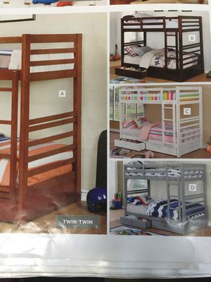 Twin twin bunk bed no mattress solid wood any colors new for Sale in Long Beach, CA