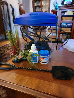 Betta fish tank plants filter and food for Sale in Rockville, MD