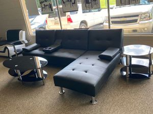 Leather sectional w/cupholders(folds down like a futon) for Sale in Marietta, GA