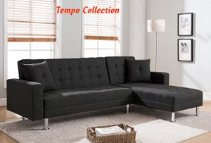 NEW, Tufted Linen Fabric Sectional Sofa Bed, Black, SKU# 8057 for Sale in Santa Ana, CA