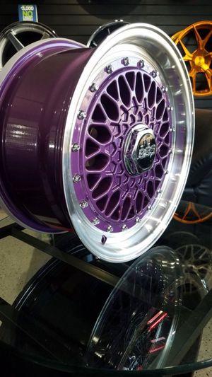 15x7 purple wheels fits civic miata 4x100 et20 rims for Sale in Tempe, AZ