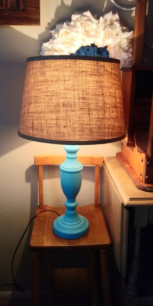 Tiffany blue lamp/burlap shade for Sale in Phoenix, AZ