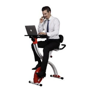 Locktek foldable upright cycling desk exercise bike with laptop table,red for Sale in Austin, TX