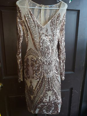 Gold sequins see through dress for Sale in Granite City, IL
