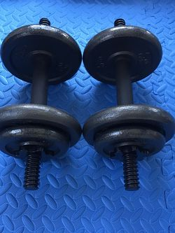 New In Box Cast Iron 20 Lb x 2 Standard Dumbbell Set 40 Lbs Total for Sale in Long Beach,  CA