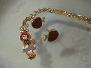 Vintage Raggedy Ann Enamel Pendant Necklace & Red Apple Earrings for Sale in Poulsbo, WA