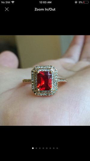 18k gold plated garnet ring for Sale in Silver Spring, MD