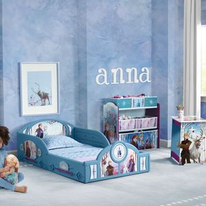 Disney Frozen II 4-Piece Room-in-a-Box Bedroom Set by Delta Children - Includes Sleep & Play Toddler Bed, 6 Bin Design & Store Toy Organizer and Desk for Sale in Houston, TX