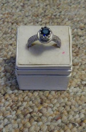 New .925 sterling sapphire crown ring .925 sterling silver size 7 1/2 for Sale in Owatonna, MN