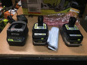 RYOBI 18-Volt ONE+ LITHIUM+ HP 3.0 Ah Battery (2-Pack) Starter Kit with Charger and Bag for Sale in Fontana, CA