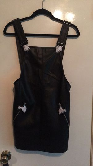 Faux leather overall dress for Sale in Austin, TX