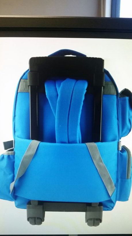 Rolling Backpack Wheeled Travel Bag Daypack School Bookbag with Wheels Multiple pockets Blue