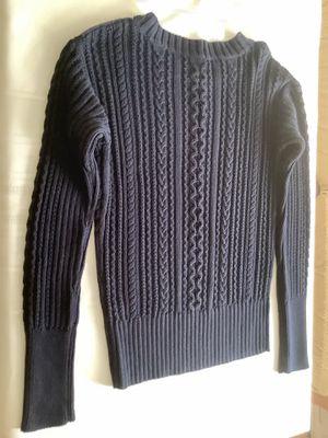 Women Navy Blue J Crew 100 Percent Cotton Long Sleeve Sweater Size M Gold Zipper for Sale in Alpharetta, GA
