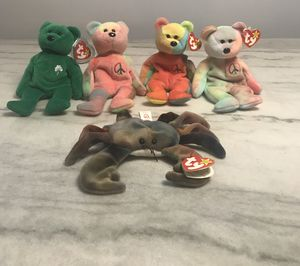 Ultra Rare Beanie Babies Lot Erin, Three Peace And Claude !!! 1990s Originals for Sale in Chicago, IL