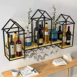Wall Mounted Metal Wine Holder Wine Rack with 6 Stem Glass Holder & 3 Shelves for Sale in Modesto,  CA