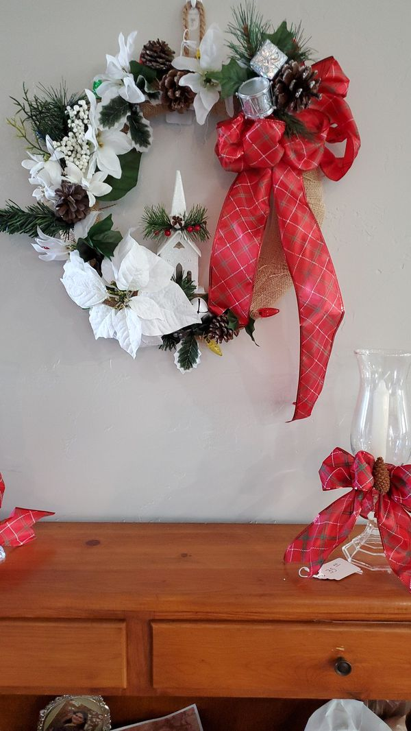 Hand crafted wreath with lights candleholders also available for extra charge