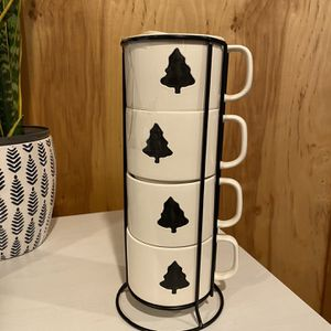 Four Ceramic Tree Mugs & Holder for Sale in Seattle, WA