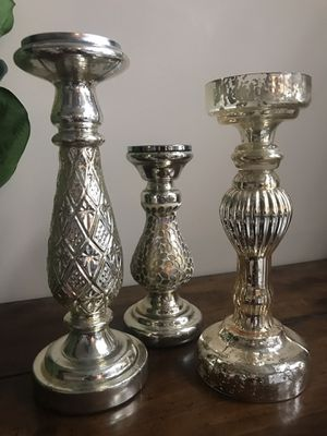Gold pillar candle holders for Sale in North Royalton, OH