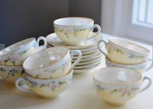 (16) Piece Tea Cup & Saucer Set Hand Painted Roses (Estate Sale) for Sale in Ashburn, VA