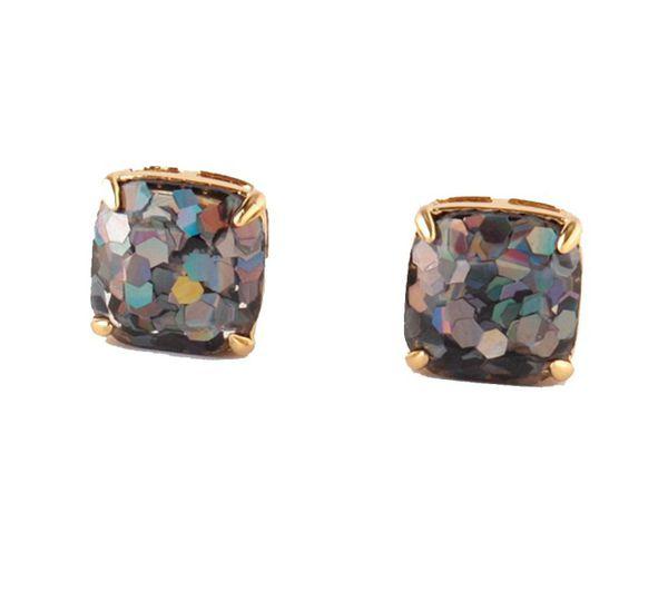 Kate Spade black glitter earrings