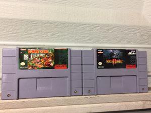 Donkey Kong Country & Mortal Kombat 2 Super Nintendo Games Bundle For Sale for Sale in Austin, TX