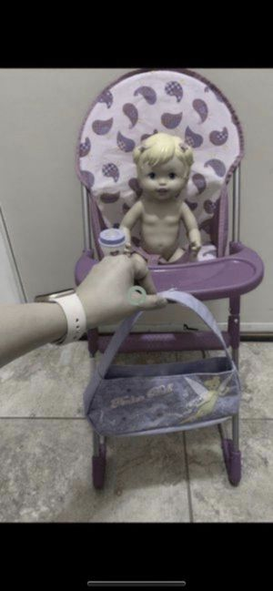 High chair , baby doll, bottle and purse all included excellent conditions All for $12firm for Sale in Laveen Village, AZ