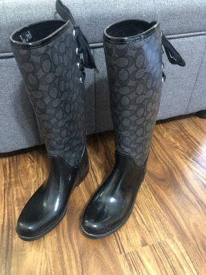 "Ladies size 9 black Coach tall rain boots with ties on back of shin / in very good condition - right at the back of the boot 4"" from bottom, rubber h for Sale in Warrington, PA"
