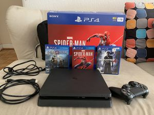 Ps4 slim 1TB spiderman bundle with 2 other games and 2 year protection plan for Sale in Washington, DC