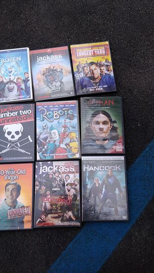 Movies..jackass 2 and 2.5 unrated,jackass the movie,frozen,orphan,longest yard,robots,Hancock,the 40 yr old virgen for Sale in Norwalk, CA