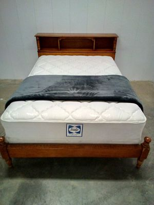 Wooden full size headboard footboard side rails mattress and box springs extra $70 for Sale in North Little Rock, AR