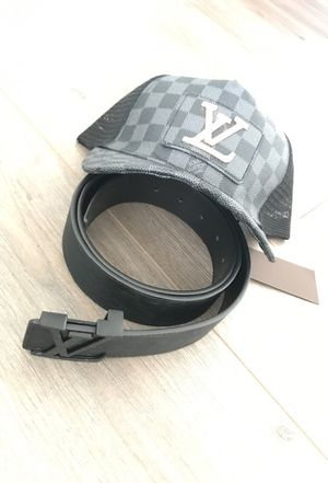 Louis Vuitton black belt and hat for Sale in West Palm Beach, FL