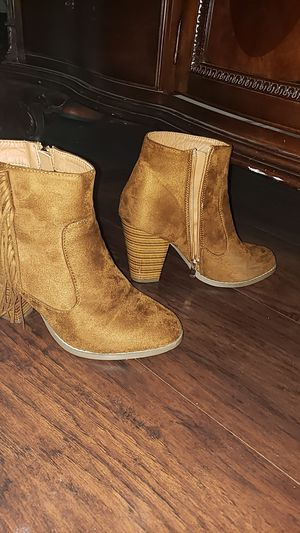 Womens suede fringe boots with a heel for Sale in Springfield, TN
