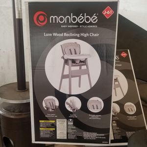 Monbebe Luxe Wood Reclining High Chair NEW $75 FIRM for Sale in Carson, CA