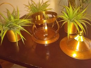 Tin colored candle holder with flower pot for Sale in Oklahoma City, OK
