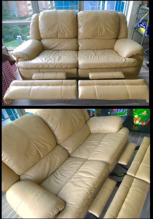 Super Plush Genuine Leather Loveseat Couch Sofa Recliner for Sale in McLean, VA