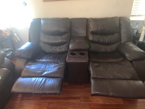 Ashley furniture leather couch with 2 power recliners for Sale in Milpitas, CA