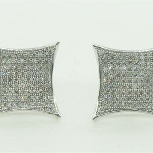 10K White Gold Diamond Encrusted Stud Square Earrings #22231B for Sale in Atlantic Beach, NY