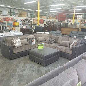 NEW Large Sectional Sofa with feather Pillows for Sale in Ontario, CA