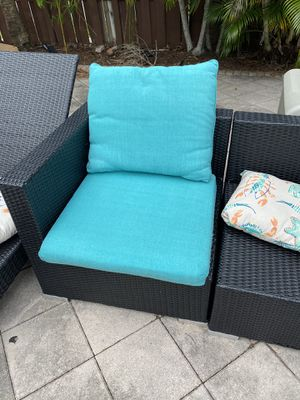 Outdoor aqua pillows for patio furniture cushions ( 5sets) for Sale in Miami, FL